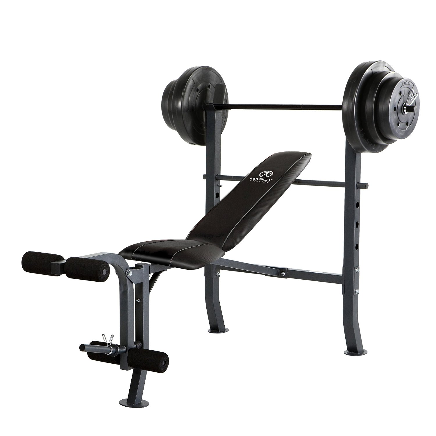 Marcy Standard Bench w/ 100 lb Weight Set Home Gym Workout Equipment | MD2082W