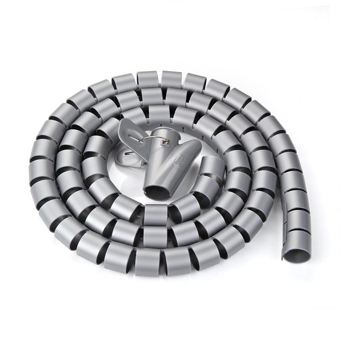 Unique Bargains 10mm Flexible Spiral Tube Cable Wire Wrap Computer Manage Cord Gray 5M w Clip