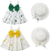 Summer Kid Baby Girl Polka Dot Tutu Sleeveless Dress Hat Clothes Set 6M-3Y