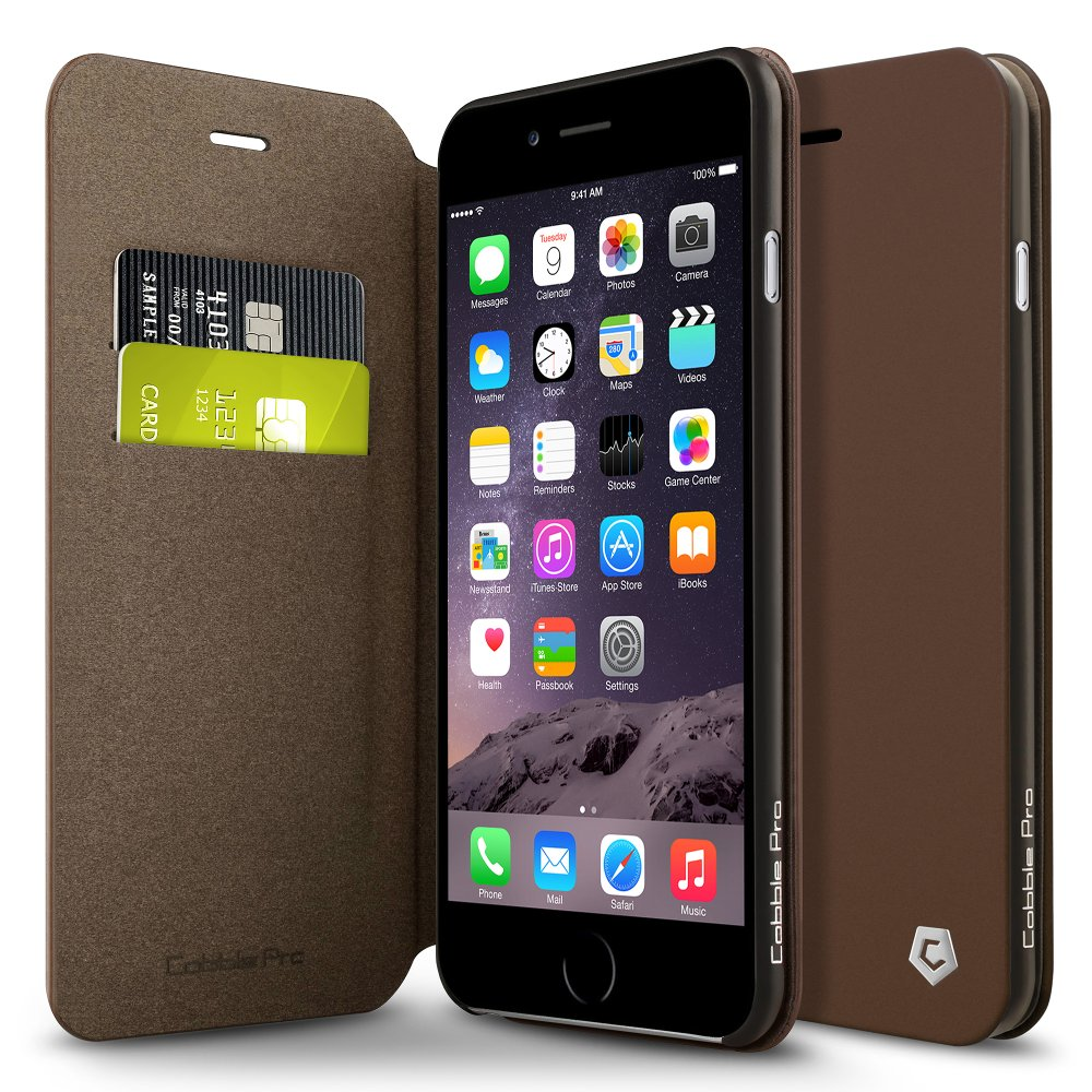 "Cobble Pro For iPhone 6s Plus / 6 Plus 5.5"" Folio Leather Wallet Flip Stand Cover Case with ID Credit Card Holder Slot - Brown (Ultra Slim)"