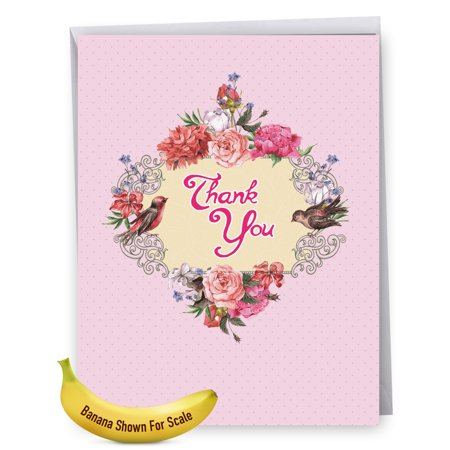J6577GTYG Extra Large Thank You Greeting Card: 'Thank You: Birds and Blossoms' Featuring a Beautiful Arrangement of Peonies and the Flower's Fine Feathered Friends, Greeting Card with Envelope by The](Large Thank You Cards)