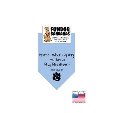 MINI Fun Dog Bandana - Devinez qui va être un Big Brother? - Taille miniature pour petits chiens de moins de 20 lbs, écharpe animal bleu clair