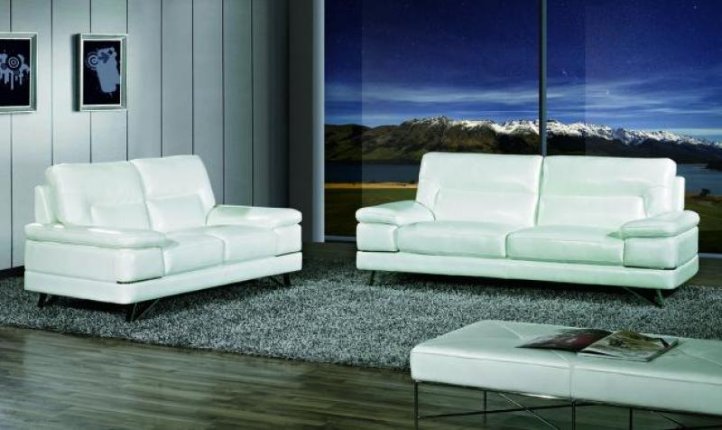 Delicieux Maxwest P893 Modern White Genuine Leather Sofa And Loveseat Set 2 Pcs