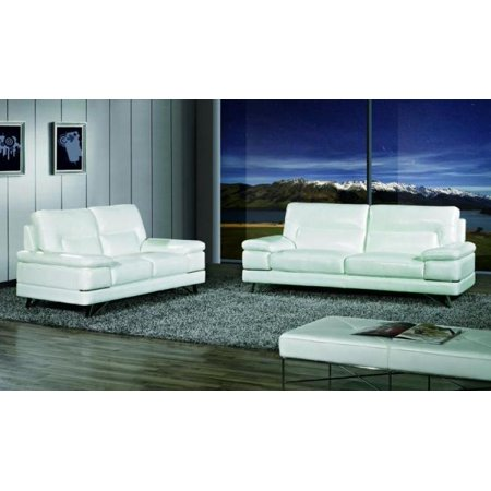 Maxwest P893 Modern White Genuine Leather Sofa and Loveseat Set 2 Pcs