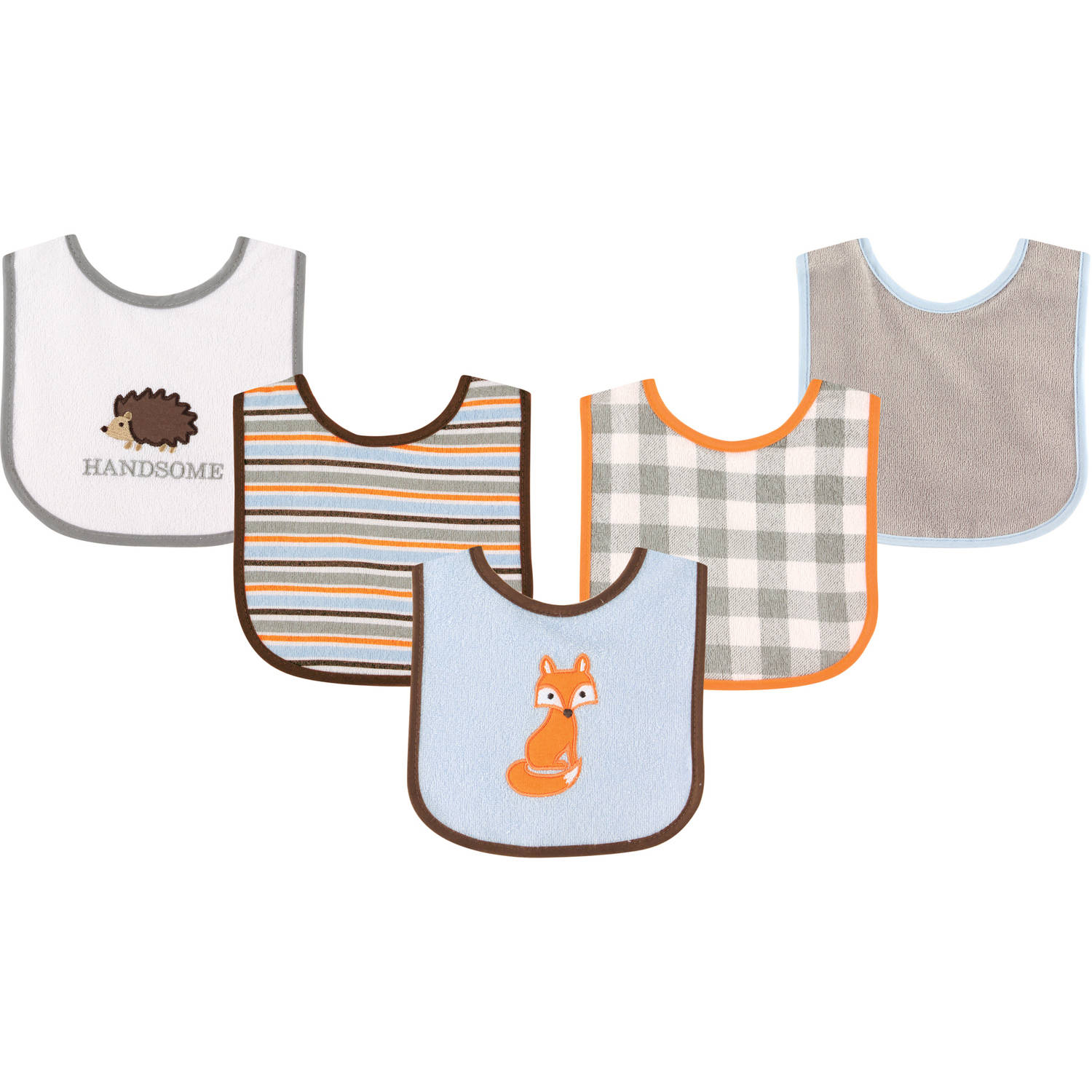 Luvable Friends Drooler Bib, 5pk, Fox