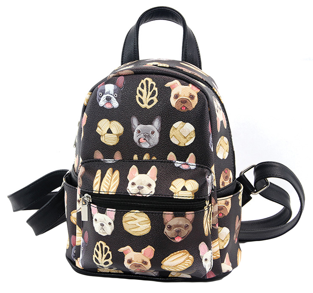 Ashley M French Bulldogs Puppy Dogs & Baguettes Mini Fashion Backpack Purse