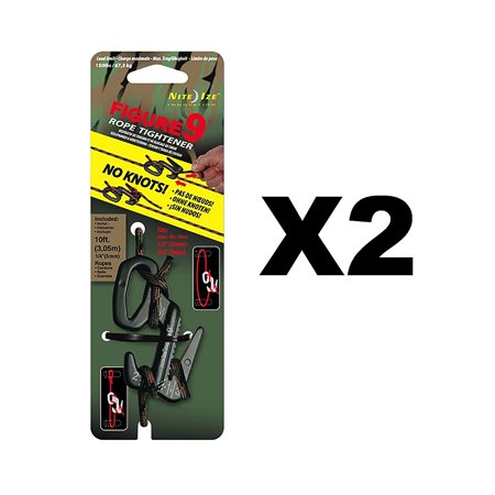 Figure 9 Rope Tightener Large w/ Rope Black/Camo Tie Down Tool (2-Pack), Two attachment methods for ultimate versatility By Nite Ize