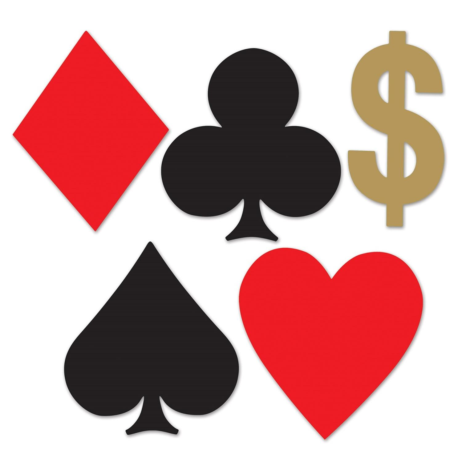 "Club Pack of 240 Red, Black and Gold Mini ""Card Suit"" Cutout Poker Night Party Decorations 5"""