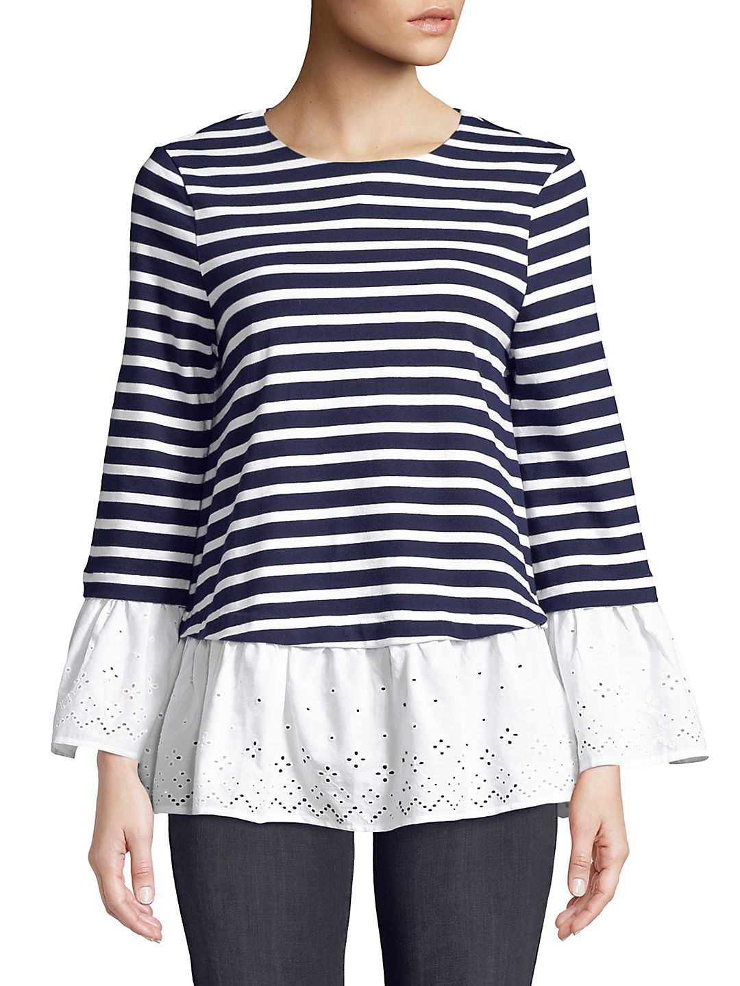 Bell-Sleeve Eyelets and Stripes Top