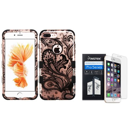 Insten for iPhone 7 Plus - Clear Screen Protector + Tuff Phoenix Flower Hard 3-Layer Hybrid Case - Rose Gold/Black