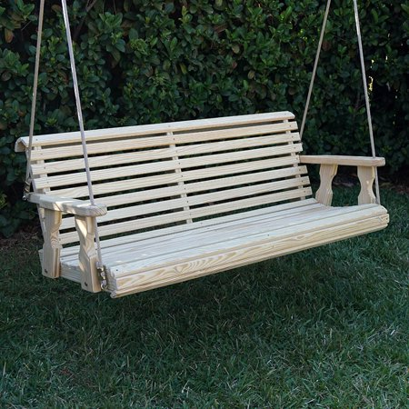 Amish Heavy Duty 800 Lb Roll Back Treated Porch Swing with Hanging Ropes (4 Foot, - Unfinished Swing