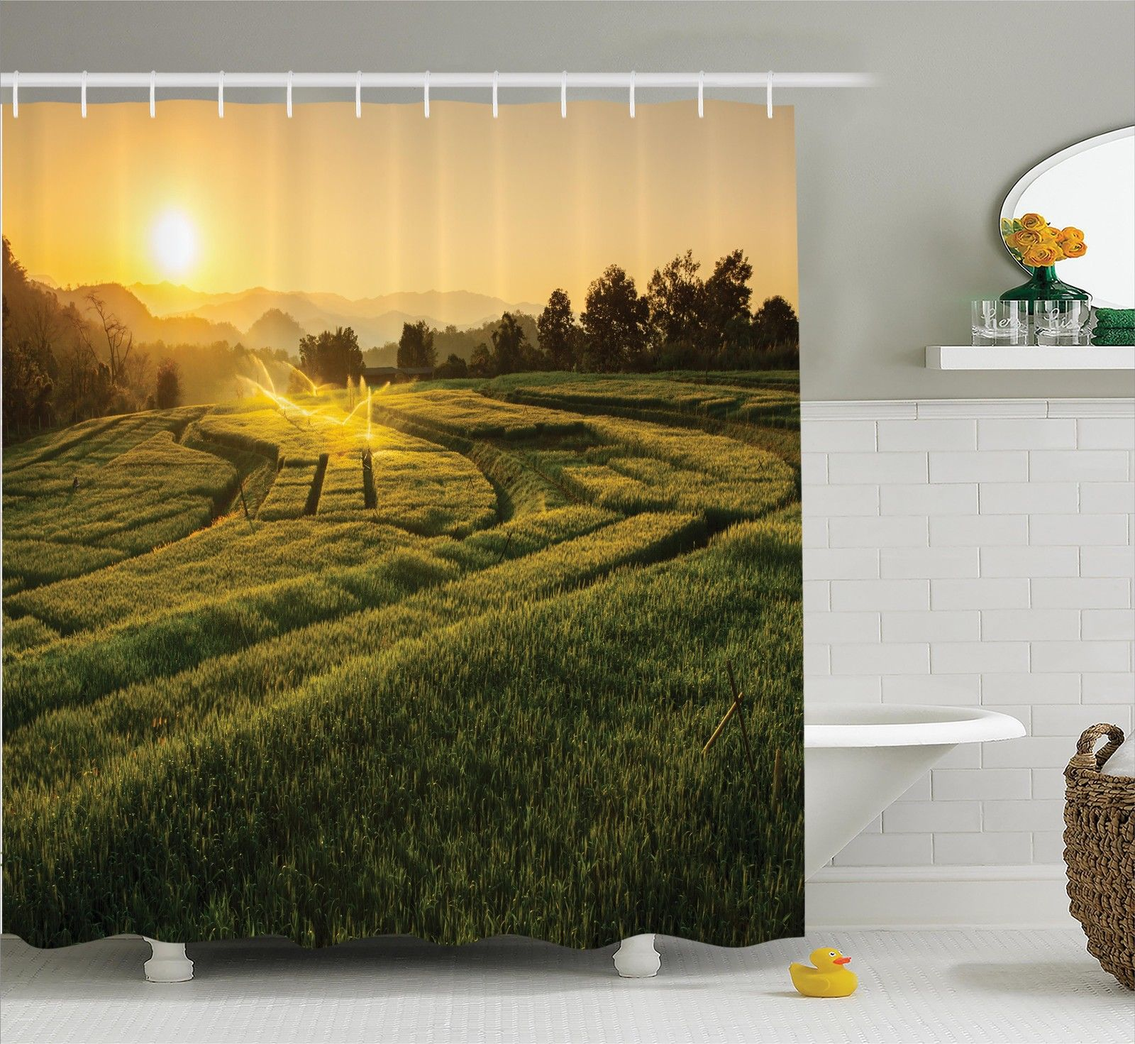 Farm House Decor Shower Curtain Set, Barley Field Sunset At Samoeng Chiang Mai Thailand Asian Nature Countryside Picture, Bathroom Accessories, 69W X 70L Inches, By Ambesonne