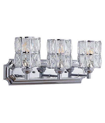 Image of: Doraimi 3 Light Crystal Wall Sconce Lighting With Chrome Finish Modern And Concise Style Wall Light Fixture With Crystal Plate Metal Shade For Bathroom Crystal Light Fixtures Etc Walmart Canada