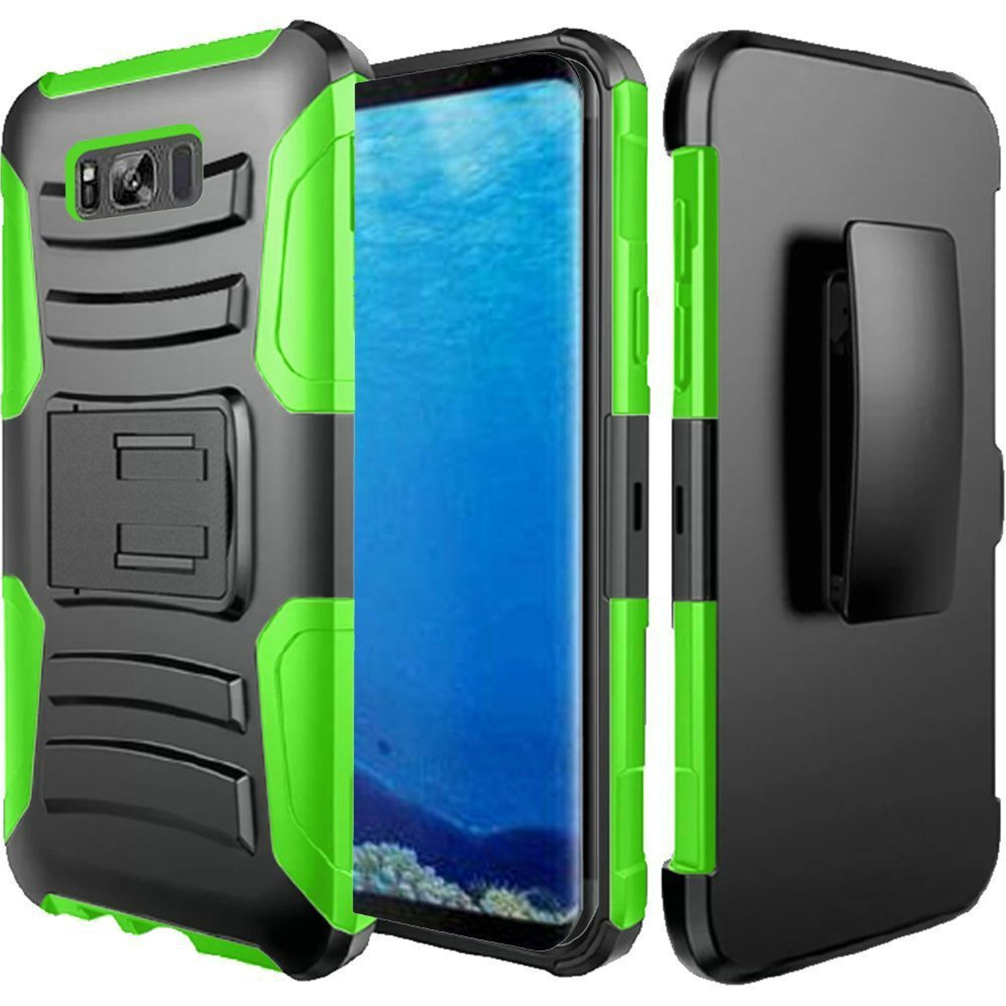 Samsung Galaxy S8 Case, by HR Wireless Dual Layer Hybrid Stand Rubberized Hard Plastic/Soft Silicone Case Cover Phone Holster For Samsung Galaxy S8, Black/Neon Green