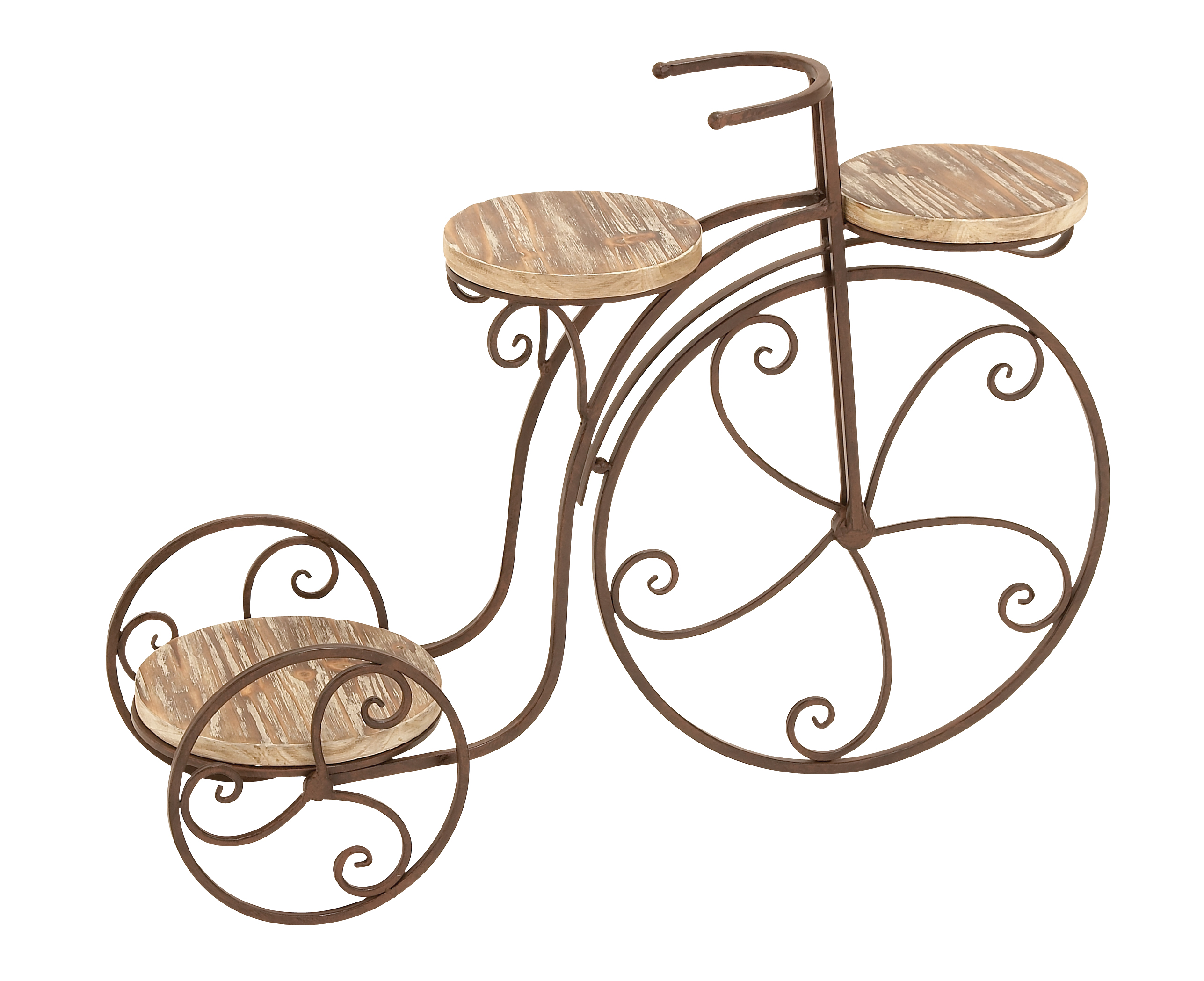 Decmode 3-Platform Metal and Fir Wood Bicycle Plant Stand, Bronze by DecMode