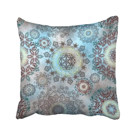 WOPOP Intricate With Circular Ornaments On Blurred Turquoise Beige Ornate Antique Culture Pillowcase Throw Pillow Cover 18x18 - Juicy Couture Antique