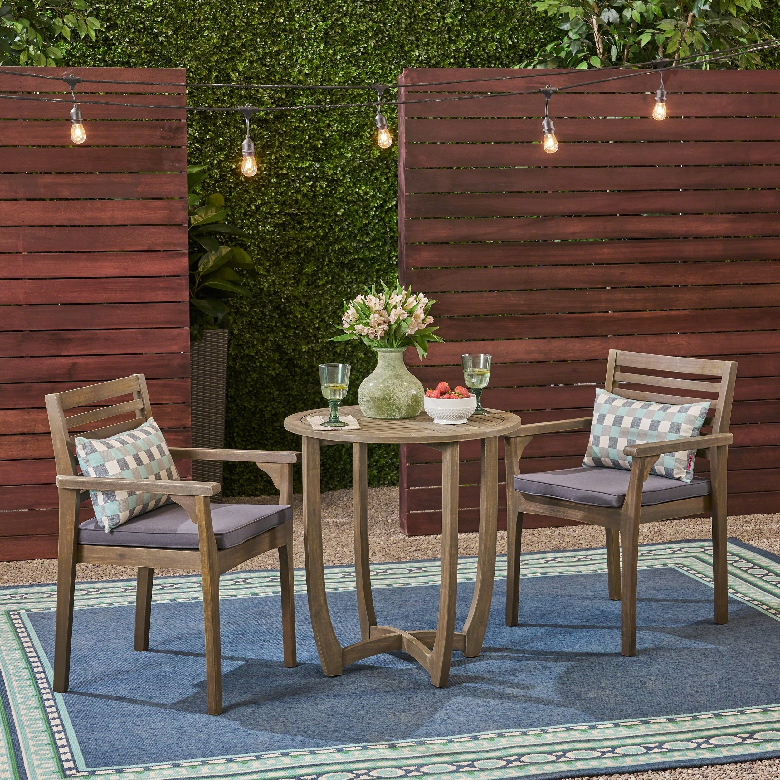 """Christopher Knight Home Casa Outdoor 2-Seater 28"""" Round Acacia Wood Bistro Set with Closed Legs by"""