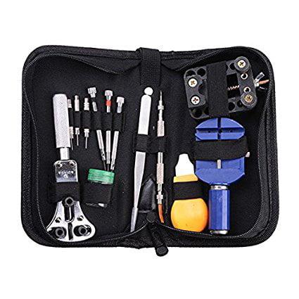 agptek 13pc watch repair tool kit zip case battery opener link remover screwdrivers. Black Bedroom Furniture Sets. Home Design Ideas