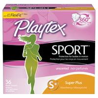 Playtex Sport Plastic Tampons, Super Plus, Unscented, 36 Ct