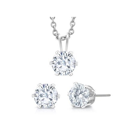 - 3-Piece Set: 3 Carat Total Weight White Cubic Zirconia Necklace & Earrings Set