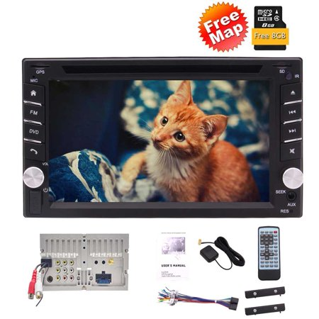Eincar Latest 6.2 Inch Capacitive Touch Screen Double Din Car Stereo Car GPS Navigation In Dash DVD CD Player AM/FM/RDS Radio Bluetooth USB SD AUX IN + Free 8GB Map Card and Remote Control (Car Cd Indash Players)