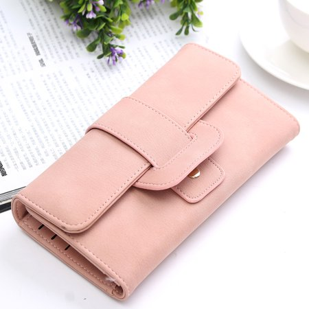 Women Fashion PU Leather Phone Wallet Bag Trifold Button handBag Card Holder for for under 5inch Cellphone - image 7 de 9