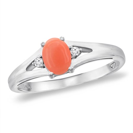 14K White Gold Diamond Natural Coral Engagement Ring Oval 6x4 Mm Size 85
