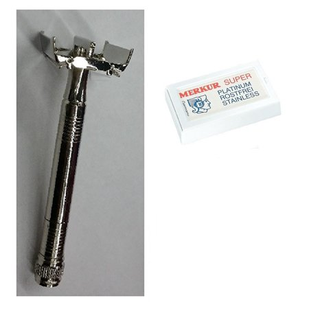 Double Edge Safety Razor + Merkur Double Edge Safety Razor Blades 10 ct. (Pack of 1) + Schick Slim Twin ST for Sensitive