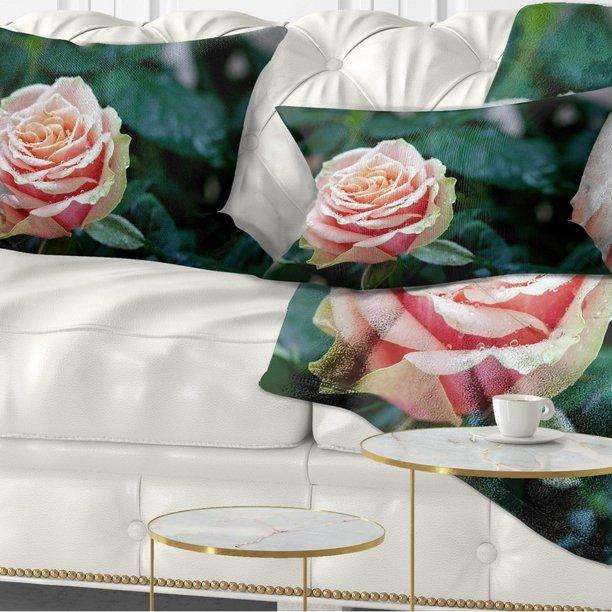 Design Art Designart Red And Orange Rose Flower Close Up Floral Throw Pillow Walmart Com Walmart Com