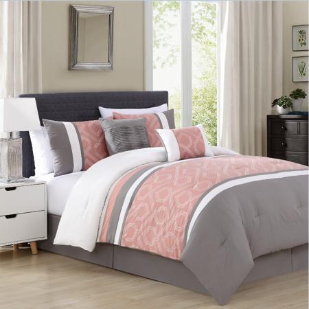 mallen home 5 piece comforter set geometric embroidery grey peach color queen. Black Bedroom Furniture Sets. Home Design Ideas