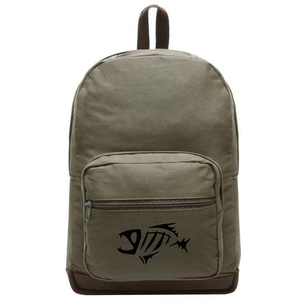 Fish Skeleton Bones Logo Canvas Teardrop Backpack with Leather Bottom Accents](Skeleton Backpack)
