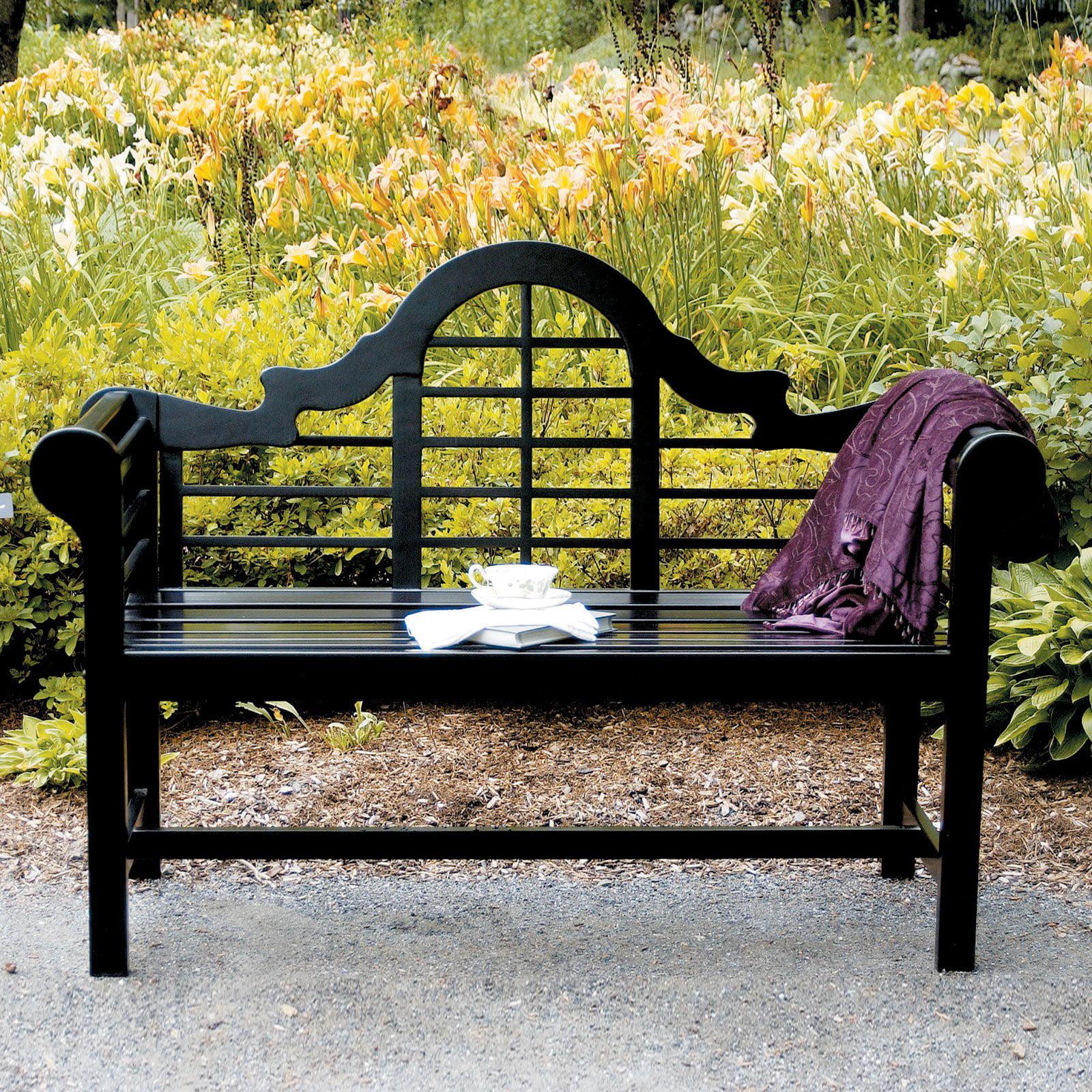 Lutyens 54 in. Black Eucalyptus Bench
