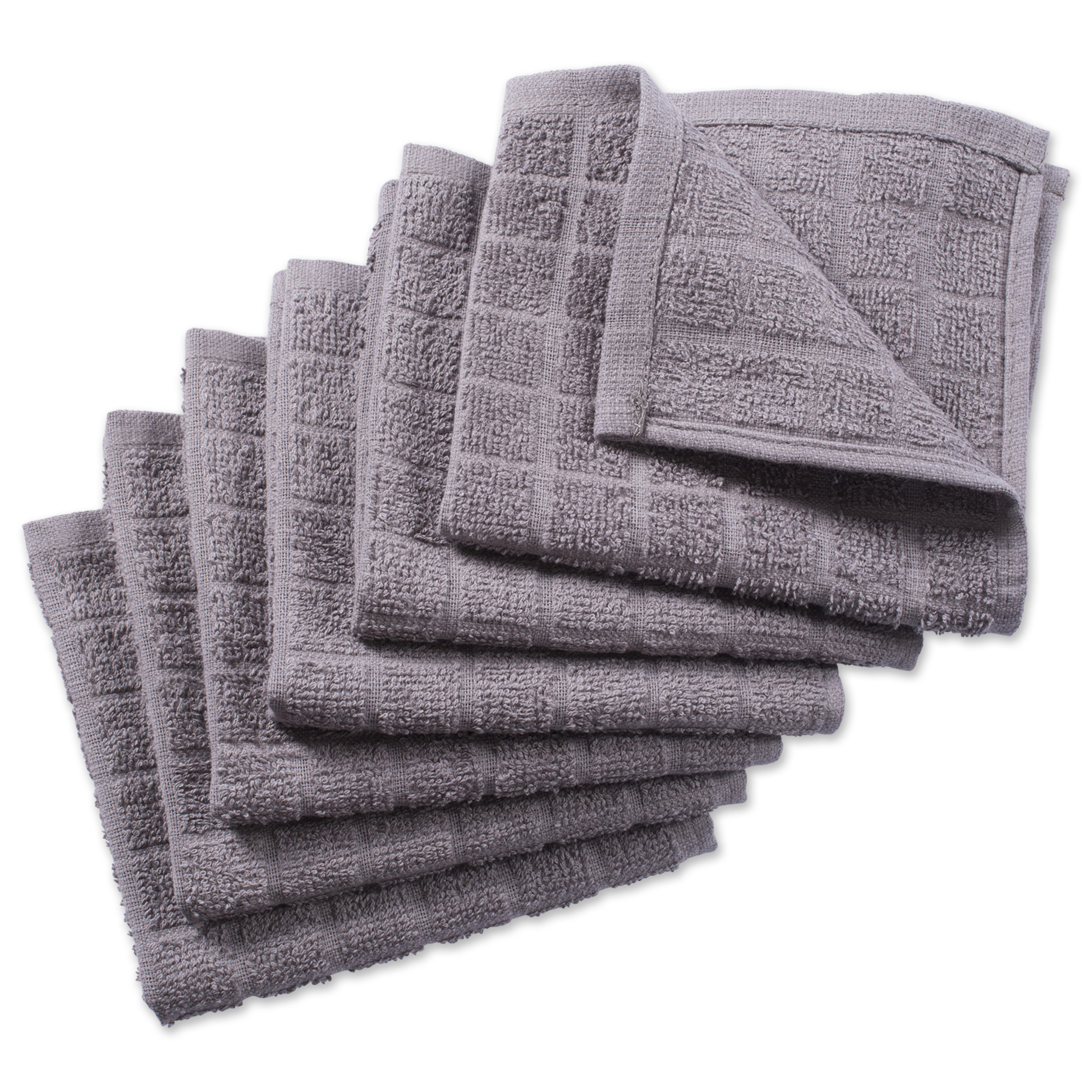 "Design Imports Solid Windowpane Terry Dishcloth Set, Set of 6, 12""x12"", 100% Cotton, Multiple Colors"