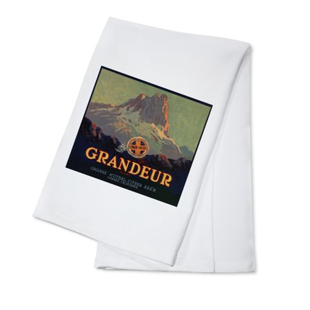 Grandeur Brand - Orange, California - Citrus Crate Label (100% Cotton Kitchen Towel) ()