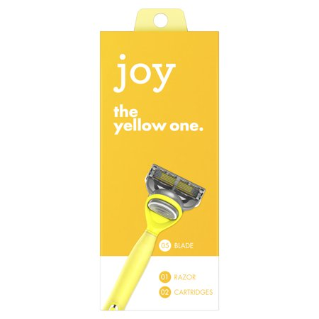 joy razor, handle + 2 razor blade refills (Yellow)