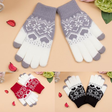 Warm Wool Gloves - EFINNY Women Warm Gloves Mitten Wool Knitting Fashion Touch Screen Gloves