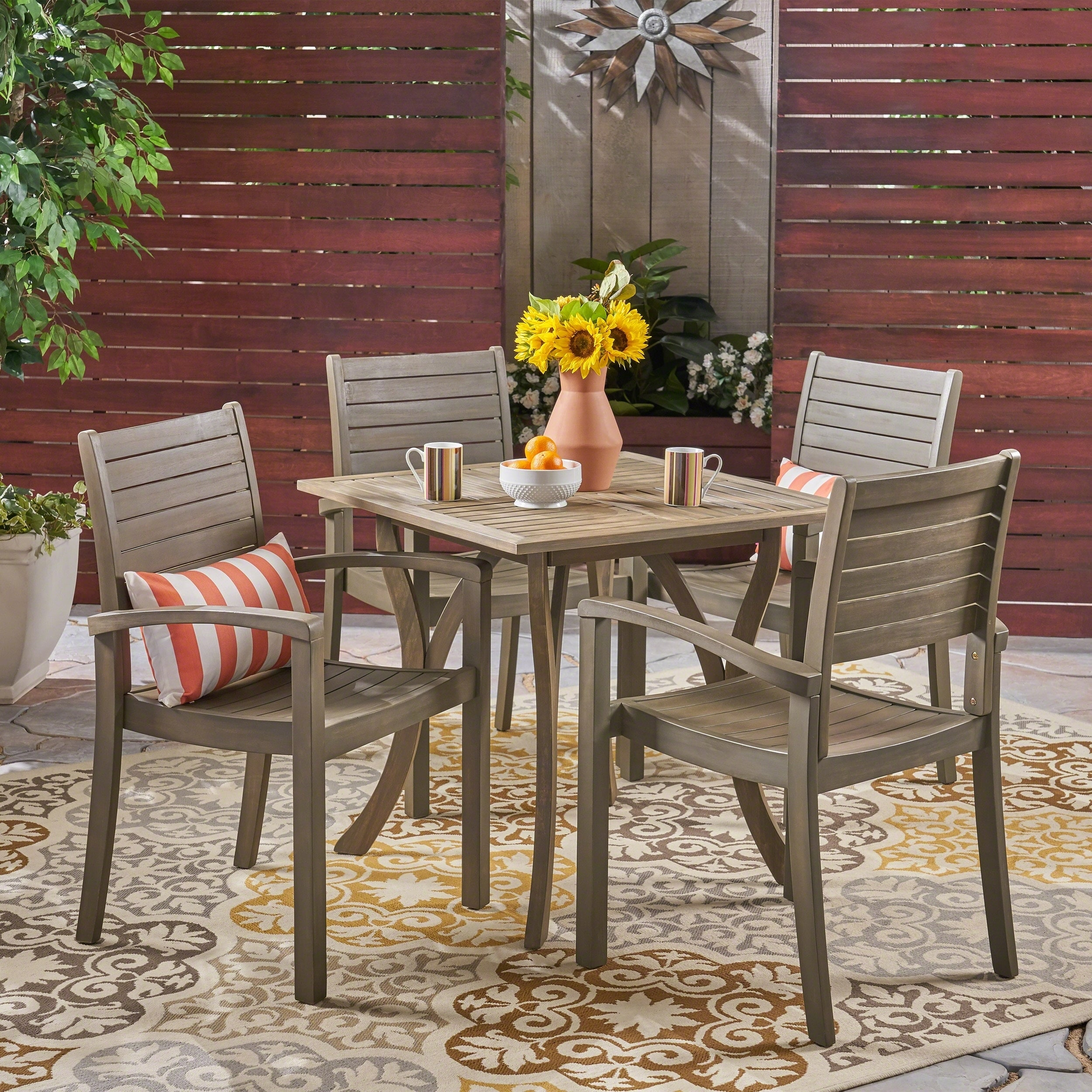 Christopher Knight Home York Outdoor 4-Seater Square Acacia Wood Dining Set by