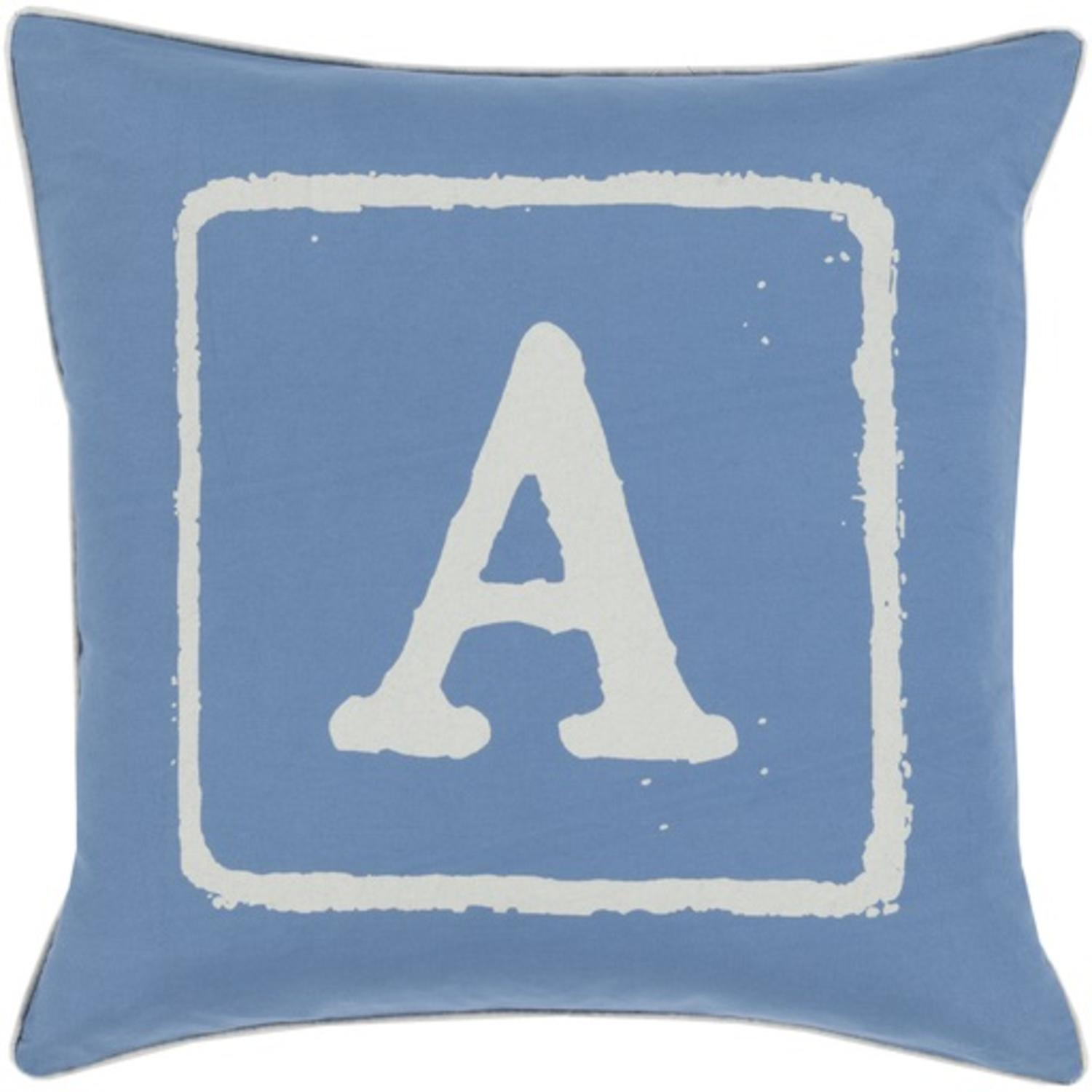 "18"" Blue and Beige ""A"" Big Kid Blocks Decorative Throw Pillow - Down Filler"