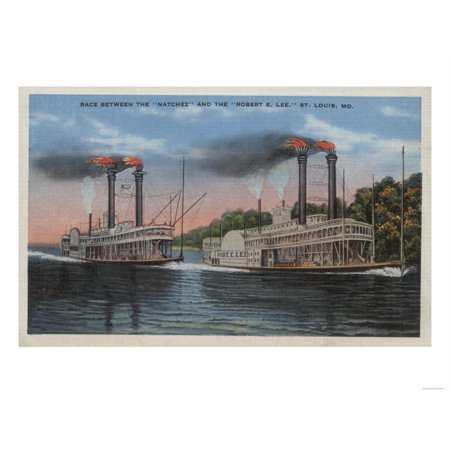 St. Louis, MO - View of Natchez & Robert E. Lee Print Wall Art By Lantern - Halloween Stores St Louis Mo