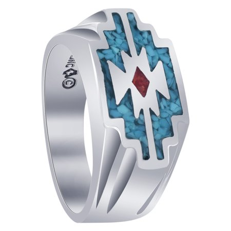 - Gem Avenue Men's 925 Sterling Silver Turquoise Coral Gemstone Ring Southwestern Style