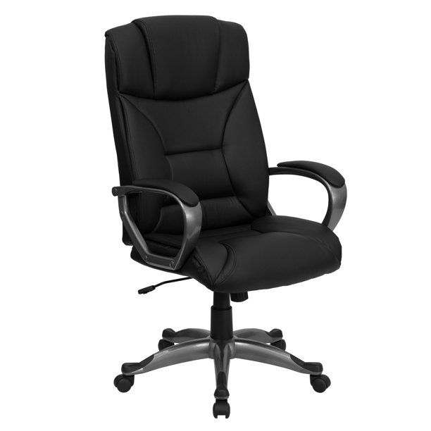 Flash Furniture High Back Black LeatherSoft Executive Swivel Office Chair with Arms