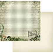 "Vintage Rose Garden Double-Sided Paper 12""X12""-Green Plaid"