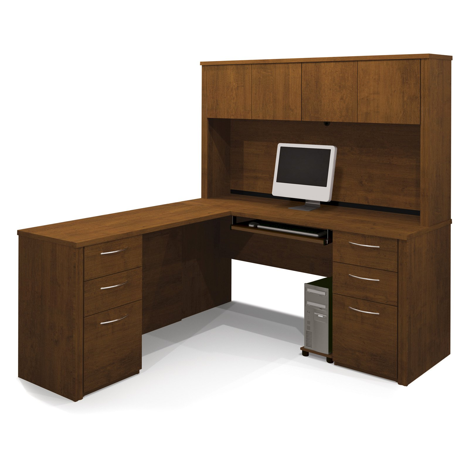Bestar Embassy L-Shaped Workstation with 2 Pedestals - Tuscany Brown