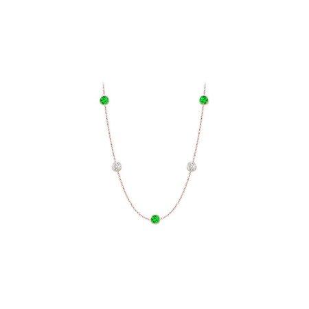 Frosted Emeralds and CZ Necklace on 14K Rose Gold Bezel Set 20.00 ct.tw - image 1 de 2
