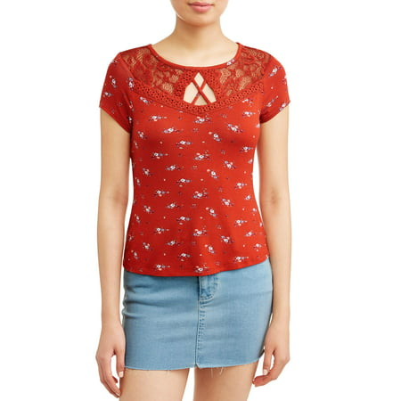 No Boundaries Juniors' Floral Printed Lace Yoke Cut-Out Short Sleeve - Lace Print T-shirt