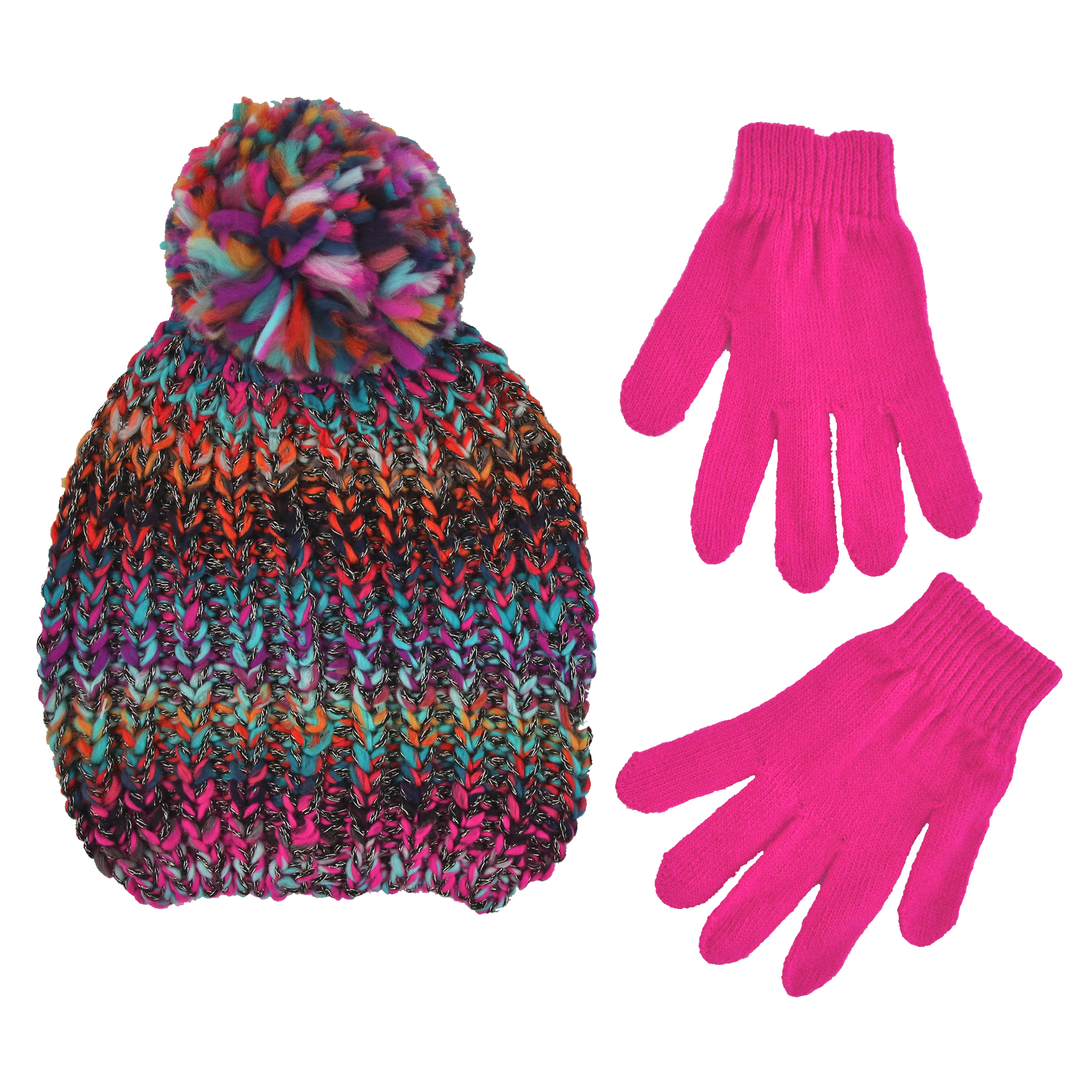 Winter Beanie Hat and Gloves Cold Weather Set, Little Girls, Age 4-7