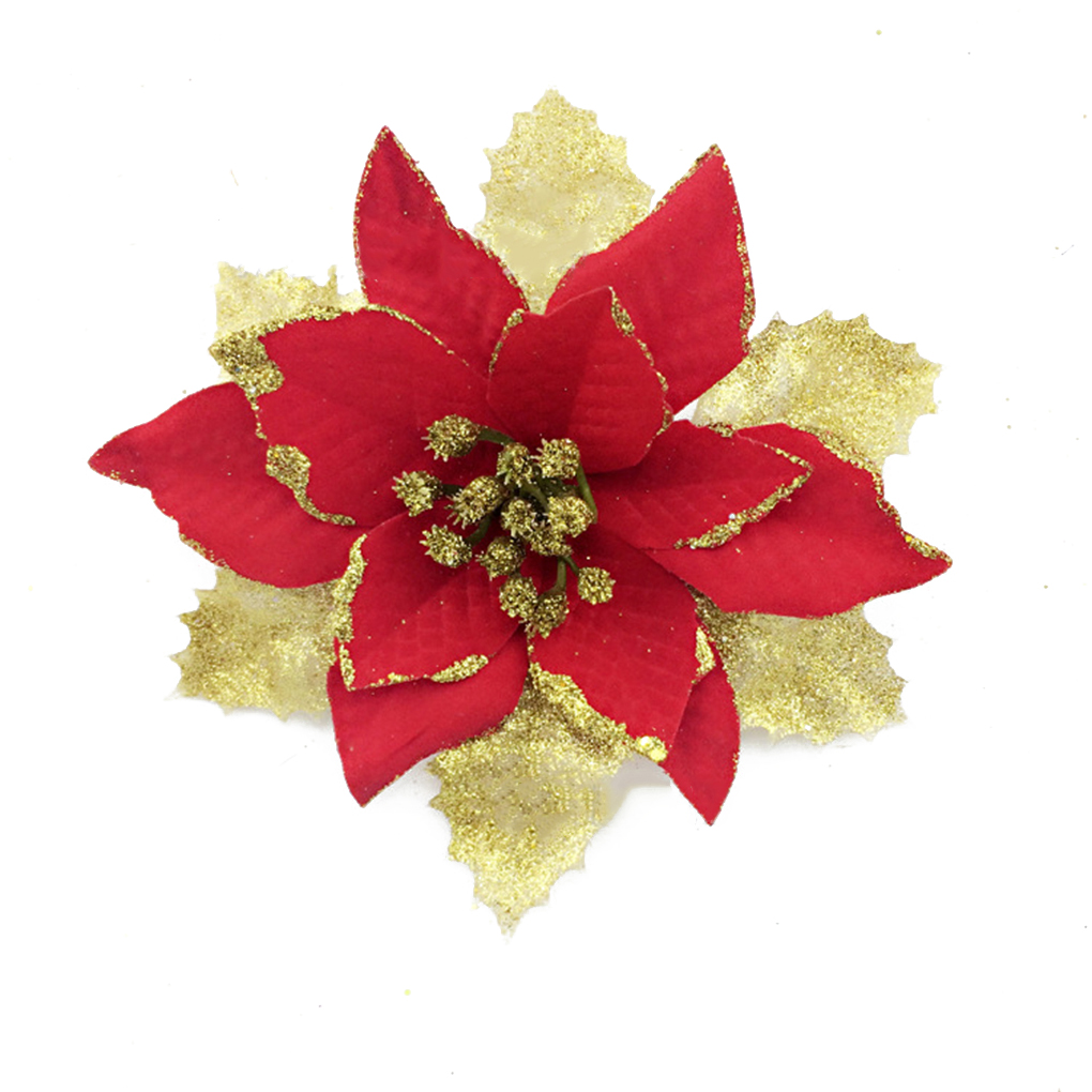 Christmas Tree Decorations Artificial Flowers Xmas 15cm Poinsettia Glitter  Flower Wedding Ornament Decor
