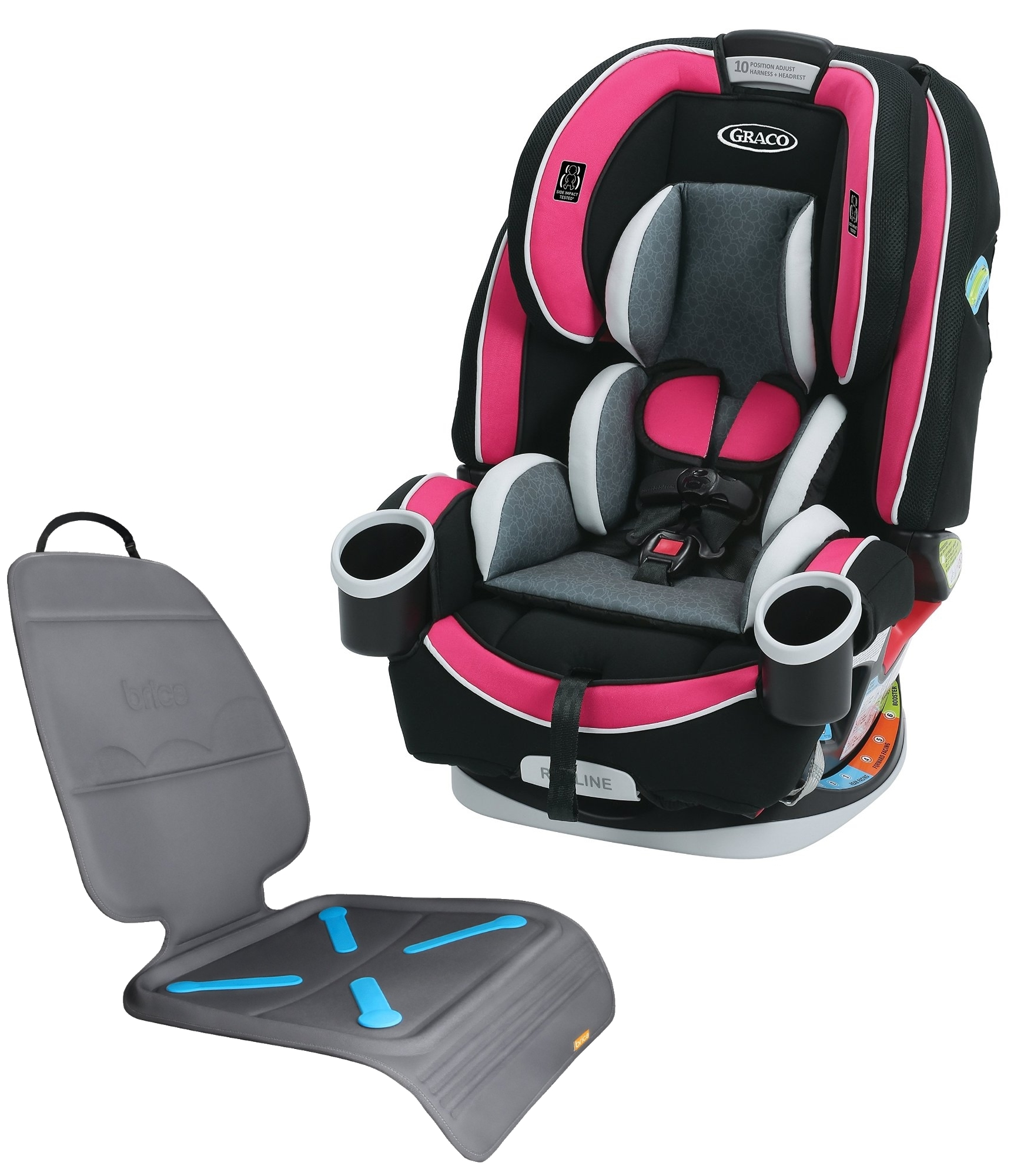 Graco 4Ever All-In-One Convertible Car Seat with Seat Protector, Azalea by Graco