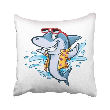 BPBOP Blue Smile Cartoon Shark With Beachwear And Sunglasses Smiling Welcome Colorful Fish Ocean Pillowcase Pillow Cover 18x18 (Cartoon Shark With Sunglasses)