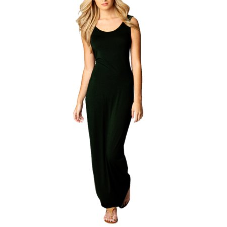 - Babula Women Sleeveless Cotton Bodycon Slim Long Maxi Pencil Dress